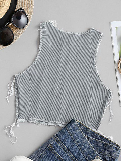 women Two Tone Topstitch Ribbed Crop Tank Top - WHITE S Mobile