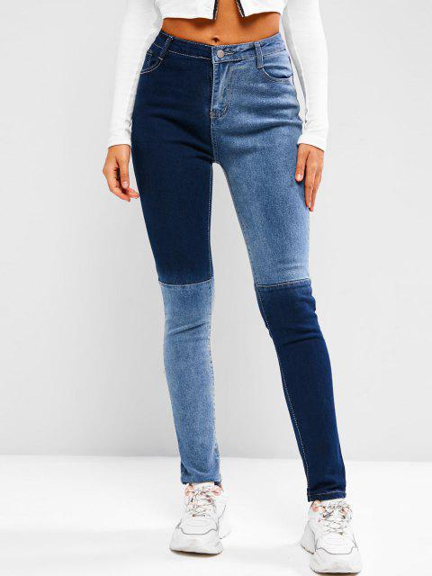 fashion Two Tone Mid Rise Skinny Jeans - BLUE S Mobile