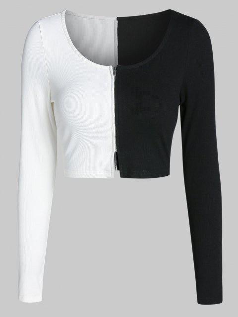 ZAFUL T Shirt de Bloco de Cores Zíper Up Cortada - Preto XL Mobile