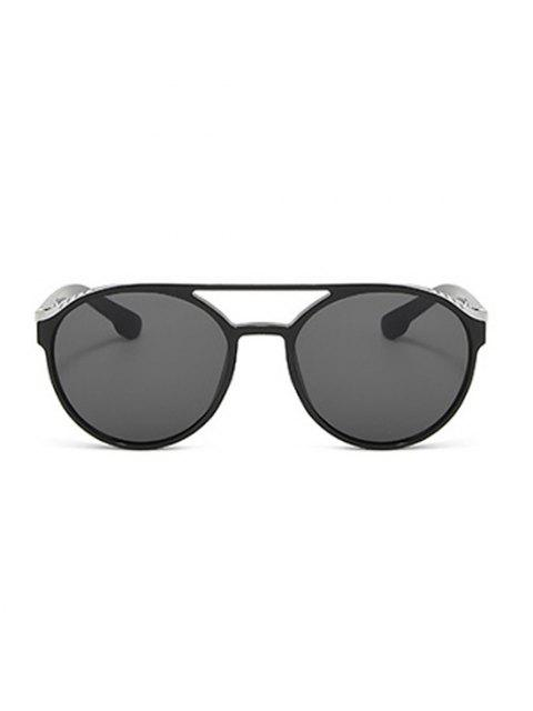 best Crossbar Hollow Out Round Sunglasses - BLACK  Mobile