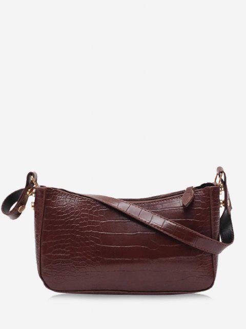ladies Minimalistic Embossed Solid Shoulder Bag - BROWN  Mobile