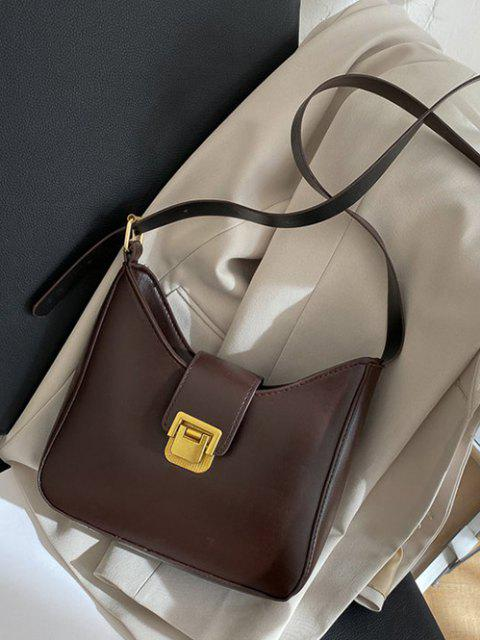 lady Solid Buckle Strap Crossbody Bag - DEEP BROWN  Mobile