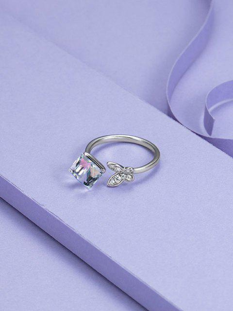 fancy Square Faux Crystal Butterfly Open Ring - SILVER  Mobile