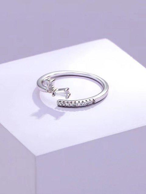 Zirkon Eingelegter Kurzer Offener Ring - Silber  Mobile
