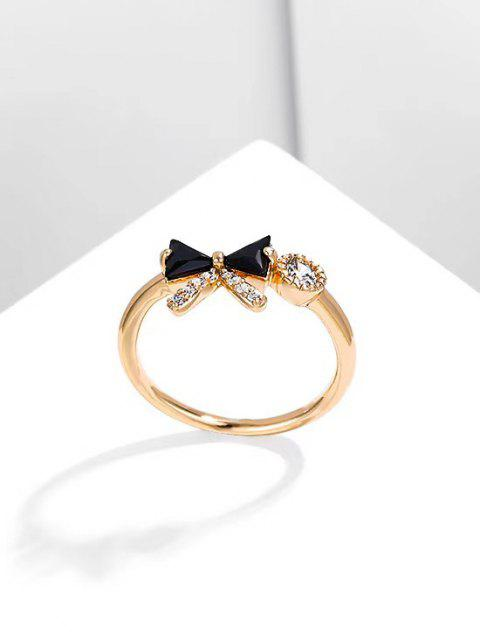 buy Bowknot Diamante Gold Plated Ring - BLACK US 6 Mobile