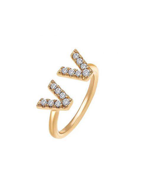 women's Double V Zircon Opening Ring - GOLDEN  Mobile