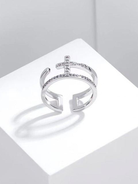 lady Hollow Out Cross Open Ring - SILVER  Mobile