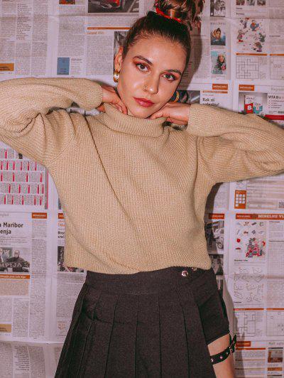 ZAFUL Turtleneck Plain Crop Sweater - Light Khaki M