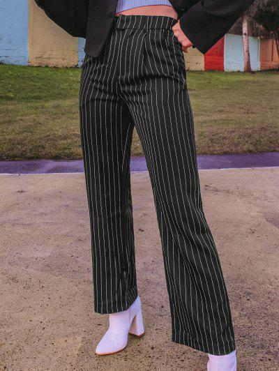 ZAFUL Pinstriped Straight Pocket Tailored Pants - Black M
