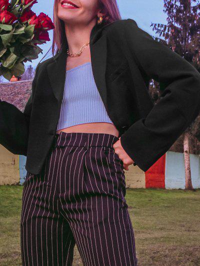 패딩 어깨 하나의 어깨 라펠 재킷 - 검정 미디엄