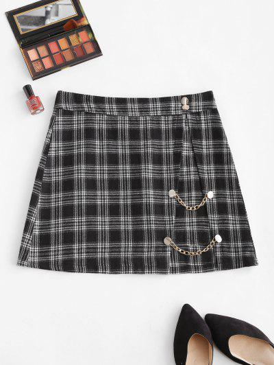 Plaid Chain Button Embellish Mini Skirt - Black M
