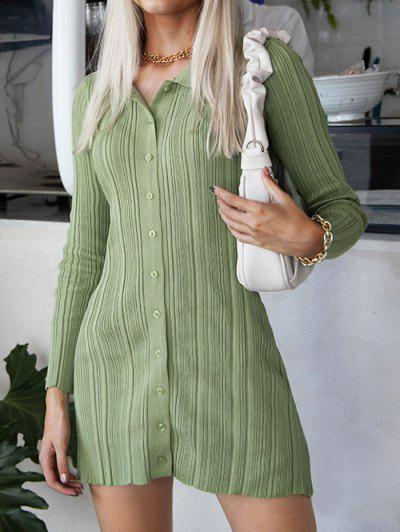Button Up Ribbed Bodycon Sweater Dress - Green Onion M