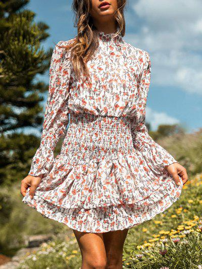 Floral Smocked Layered Hem Poet Sleeve Dress - White M