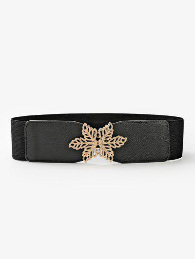 Hollow Leaf Buckle Elastic Cinch Belt - Black