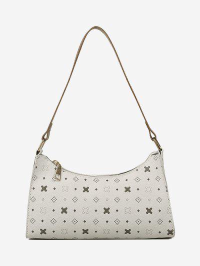 All-Over Printed Textured Shoulder Bag - Warm White