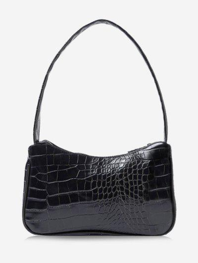 Solid Embossed Wide Strap Shoulder Bag - Black