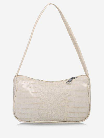Solid Embossed Wide Strap Shoulder Bag - Crystal Cream