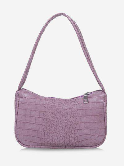 Solid Embossed Wide Strap Shoulder Bag - Lilac