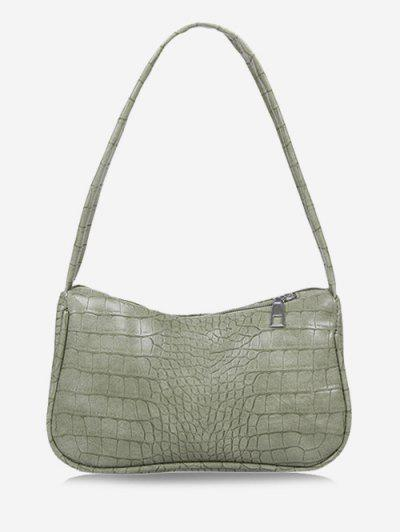 Solid Embossed Wide Strap Shoulder Bag - Light Green