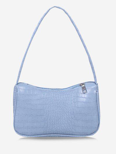 Solid Embossed Wide Strap Shoulder Bag - Day Sky Blue