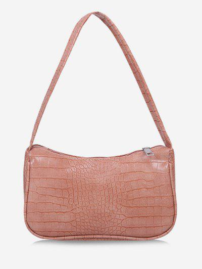 Solid Embossed Wide Strap Shoulder Bag - Pink Rose