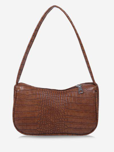 Solid Embossed Wide Strap Shoulder Bag - Brown