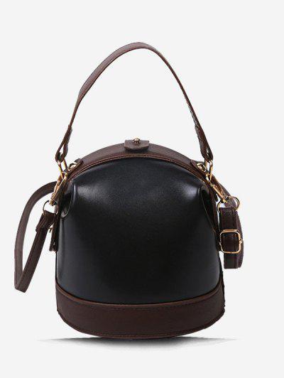 Color Contrast Dual Strap Top Snap Bucket Bag - Black