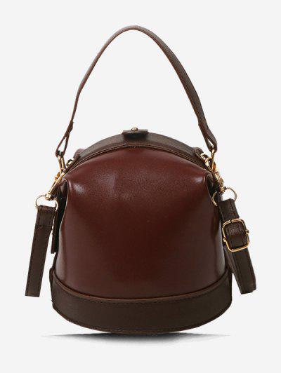 Color Contrast Dual Strap Top Snap Bucket Bag - Brown