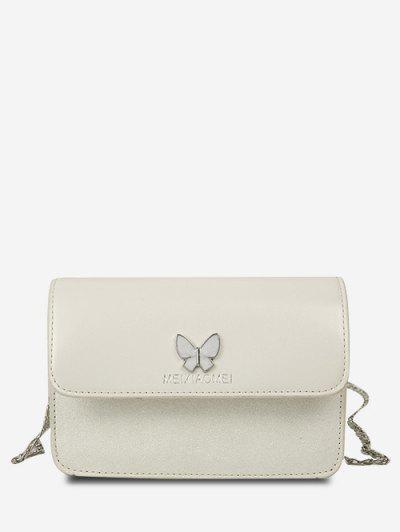 Butterfly Glitter Flap Mini Crossbody Bag - Crystal Cream