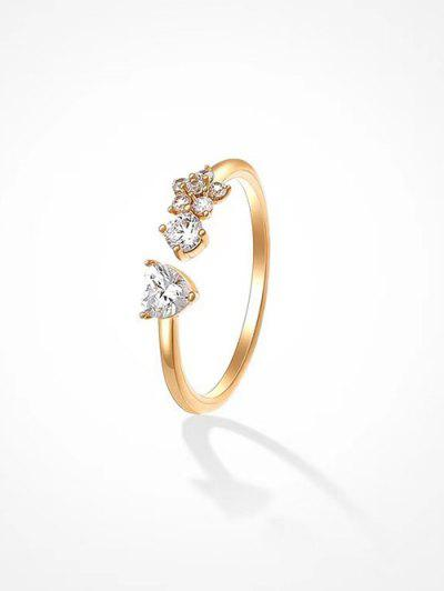 Flower Zircon Inlaid Open Ring - Golden