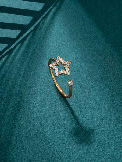 Hollow Star Zircon Inlay Open Ring - Golden