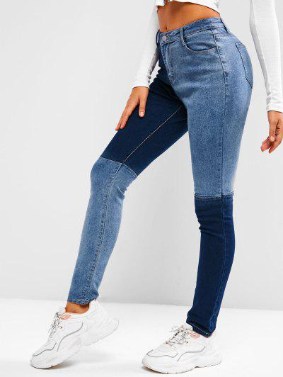 Two Tone Mid Rise Skinny Jeans - Blue S