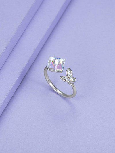 Square Faux Crystal Butterfly Open Ring - Silver