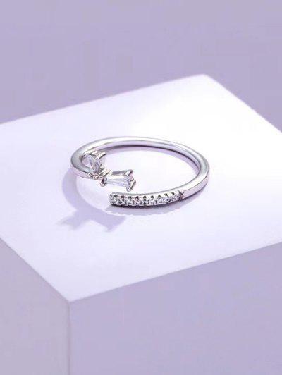 Zircon Inlaid Brief Open Ring - Silver