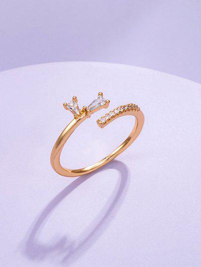 Zircon Inlaid Brief Open Ring - Golden