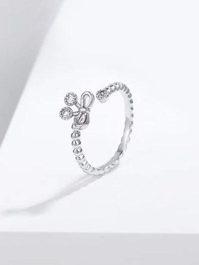 Bowknot Hollow Opening Ring - Silver