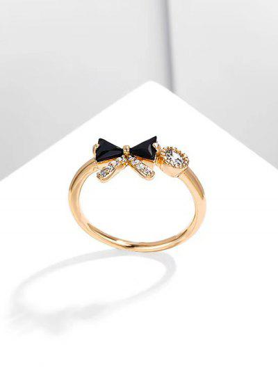 Bowknot Diamante Gold Plated Ring - Black Us 6