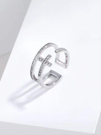 Hollow Out Cross Open Ring - Silver