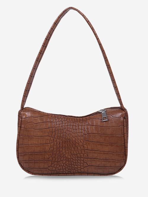 Solid Embossed Wide Strap Shoulder Bag