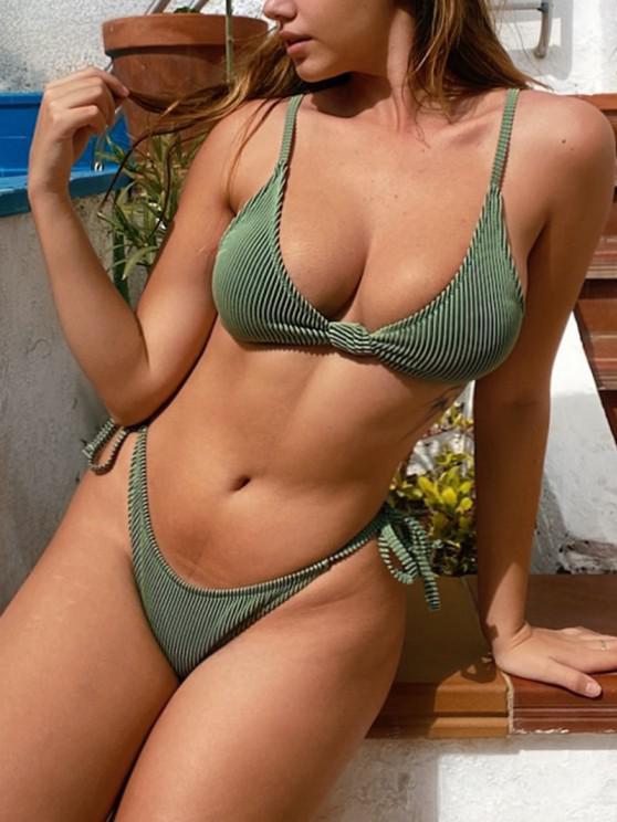 lady ZAFUL Textured Ribbed Knot Tie Tanga Bikini Swimwear - DEEP GREEN M
