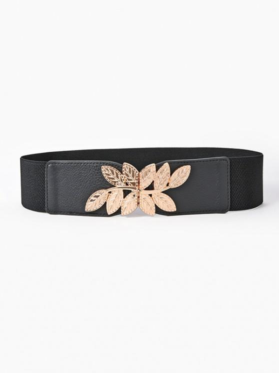 shop Engraved Leaf Buckle Wide Elastic Belt - BLACK