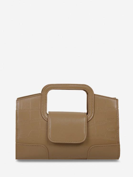 outfits Embossed Cut Out Dual Handle Crossbody Bag - KHAKI