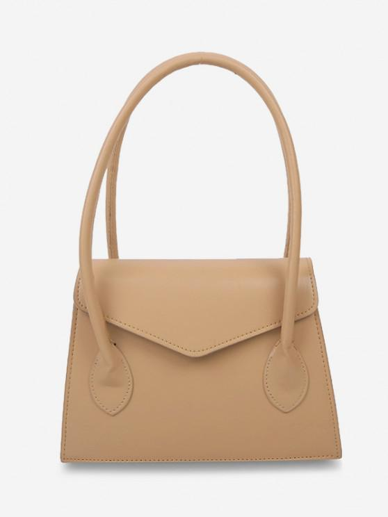 women Top Handle Square Flap Tote Bag - KHAKI