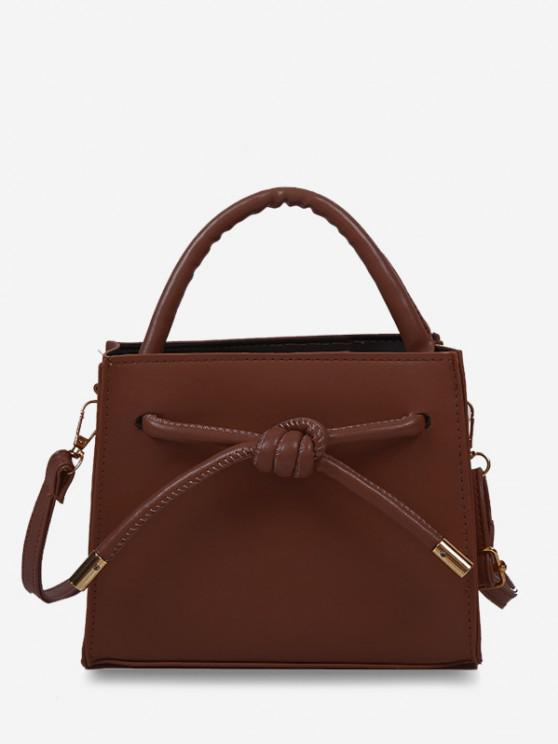 lady Knot Dual Handle Square Crossbody Bag - RED WINE