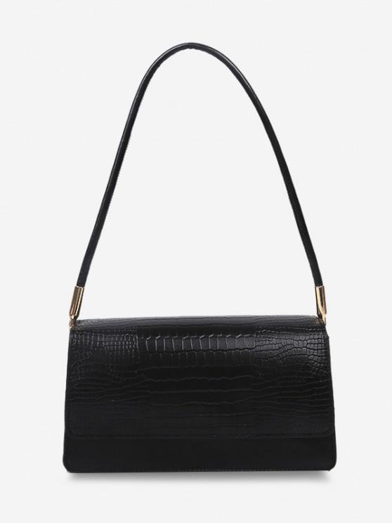 shops Embossed Flap Thin Strap Shoulder Bag - BLACK
