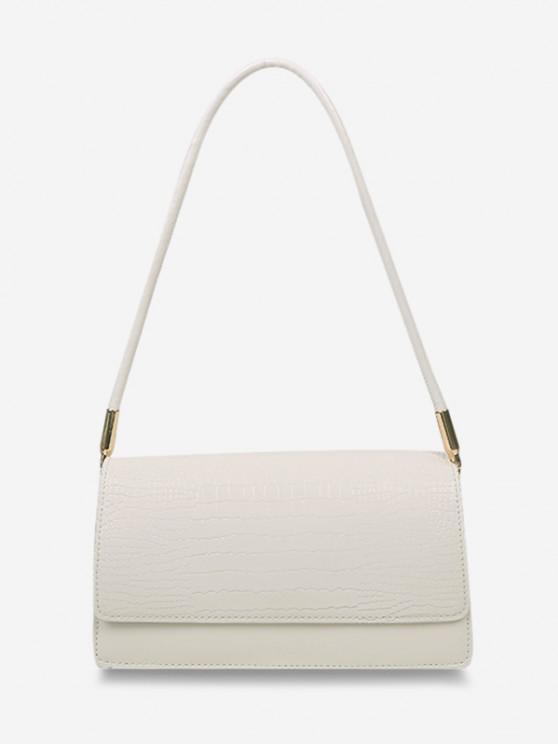latest Embossed Flap Thin Strap Shoulder Bag - CRYSTAL CREAM