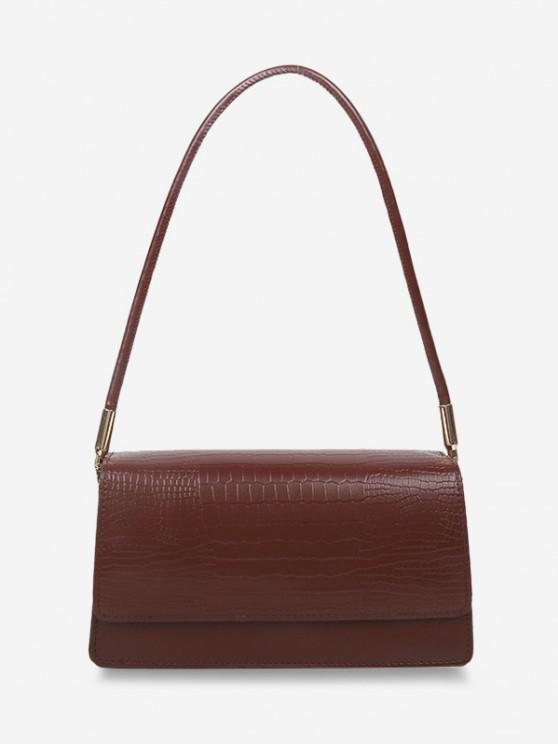 fashion Embossed Flap Thin Strap Shoulder Bag - DEEP BROWN