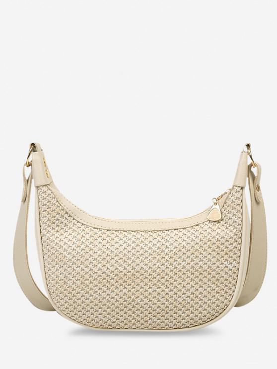 fancy Hemp Woven Splicing Wide Strap Shoulder Bag - WARM WHITE