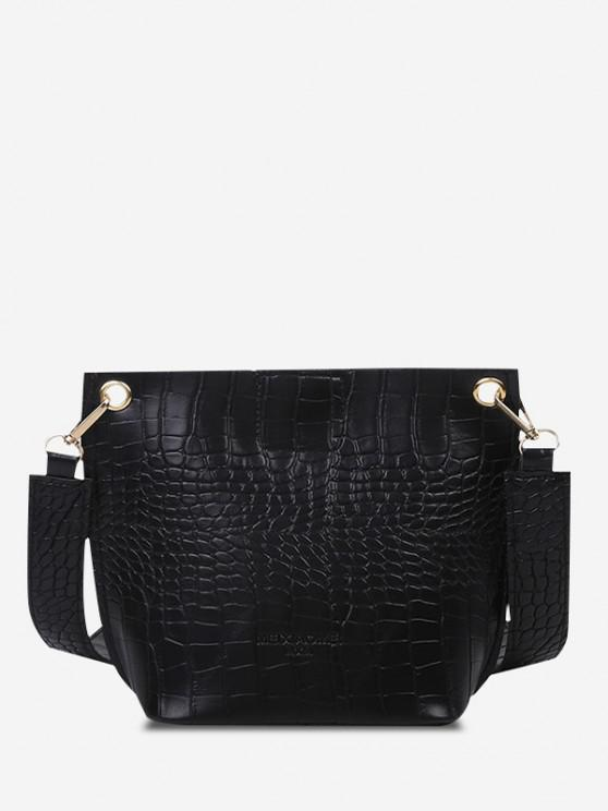 new Square Embossed Wide Strap Bucket Bag - BLACK