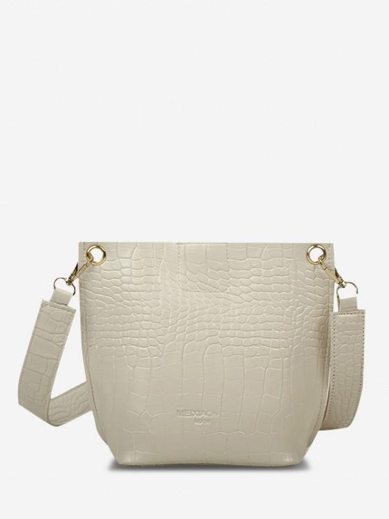 hot Square Embossed Wide Strap Bucket Bag - CRYSTAL CREAM